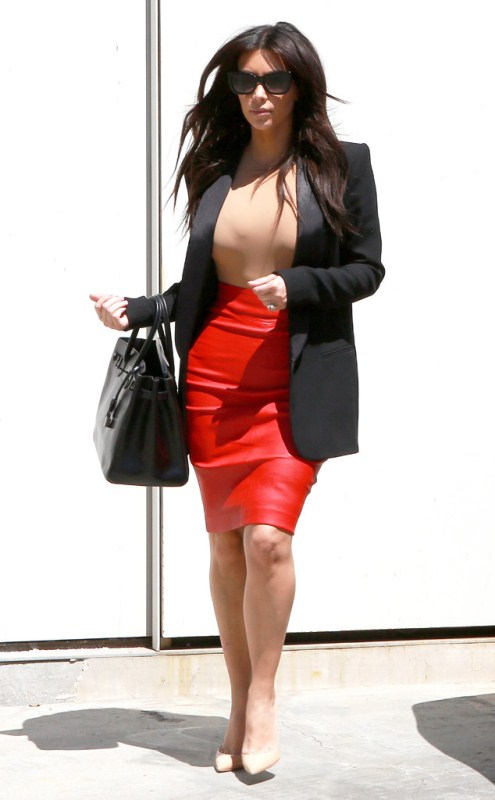 kim-kardashian-beverly-hills-maison-martin-margiela-bodysuit-joseph-red-leather-pencil-skirt